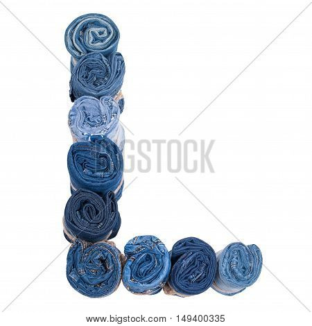 Letter L made of jeans roll on a white background