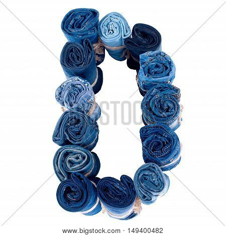 Letter D made of jeans roll on a white background