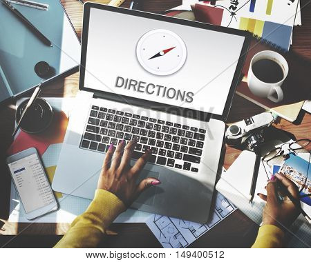 Directions Destination Location GPS Map Concept