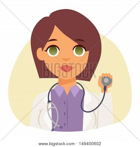 Doctor spetialist avatar face vector, doctor medical staff people. Medical doctor specialists concept in flat design people character. Doctor specialist uniform vector.