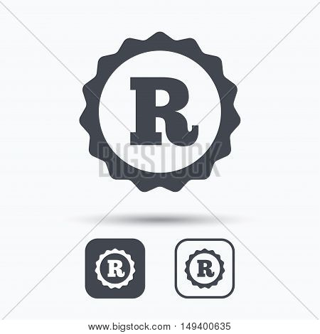 Registered trademark icon. Intellectual work protection symbol. Square buttons with flat web icon on white background. Vector