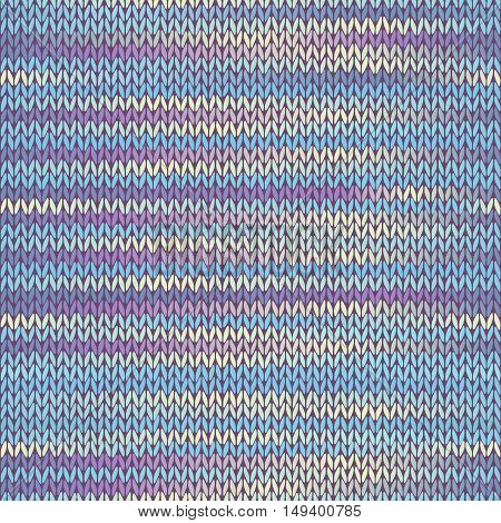 Seamless Knitted Melange Pattern. Blue Yellow Pink Color Vector Illustration