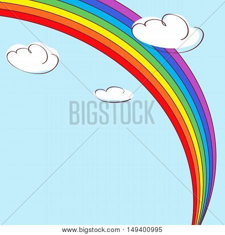 Rainbow and clouds. Light blue vector background