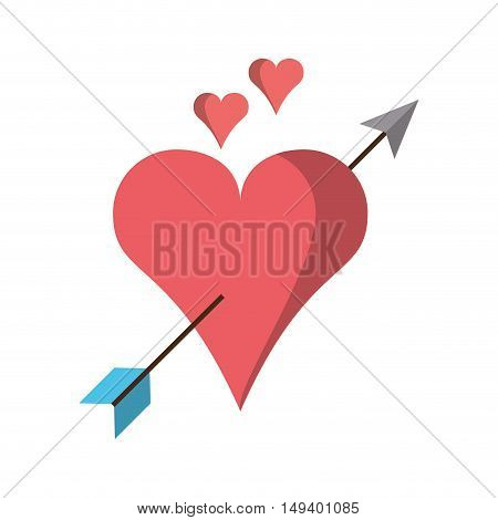 Arrow through heart icon. Love passion and romantic theme. Isolated design. Vector illustration