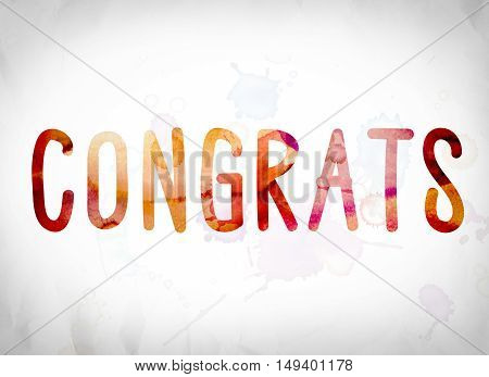 Congrats Concept Watercolor Word Art