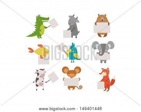 Cute animals vector character isolated on white backgrund. Pretty kids style wild and farm pet animals character isolated. Some animal holding paper banner