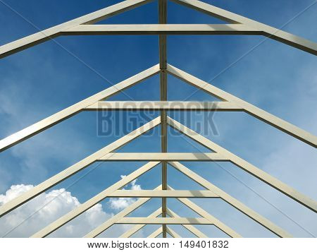 Steel roof Canopy provides weather protection for pedestrians. Galvanised & painted steel structure.