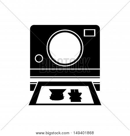Camera with picture of couple icon. Wedding marriage love and celebration theme. Isolated design. Vector illustration