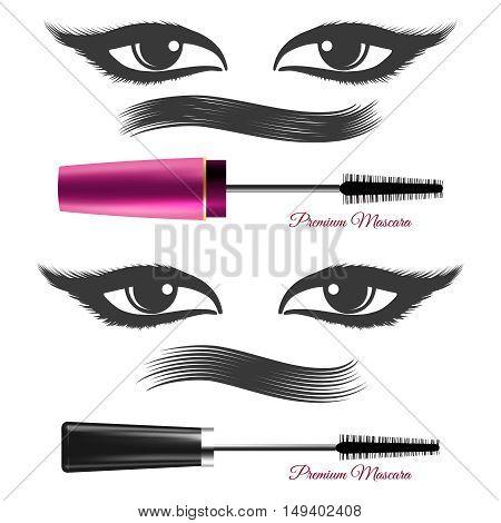 Premium mascara ads vector. Demonstration mascara effects