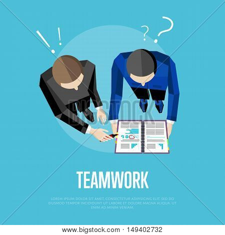 Teamwork banner, vector illustration. Overhead view of business people with documents discussing details of business project on green background. Project managers meeting. Business team work process
