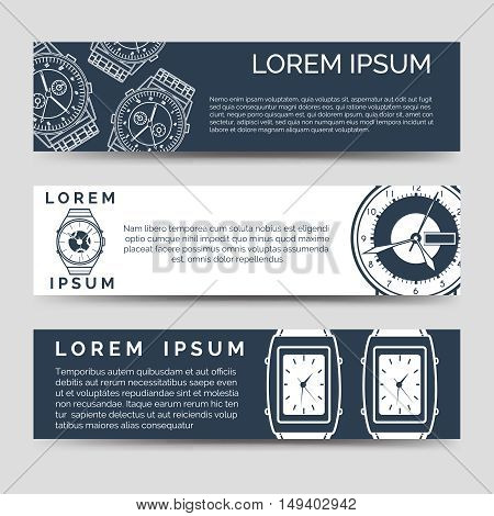 Horizontal banners set with watch icons and place for text. Vector illustration