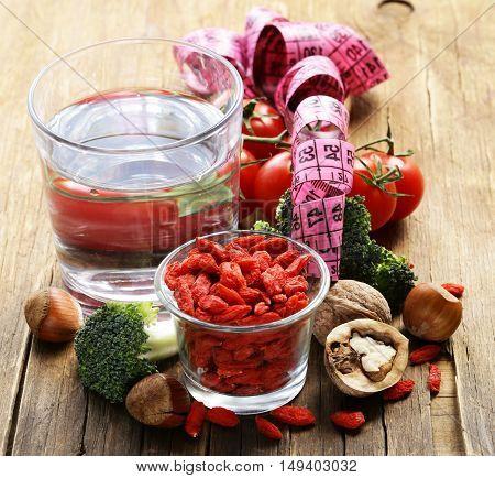 Goji berries, fruits and nuts, healthy food