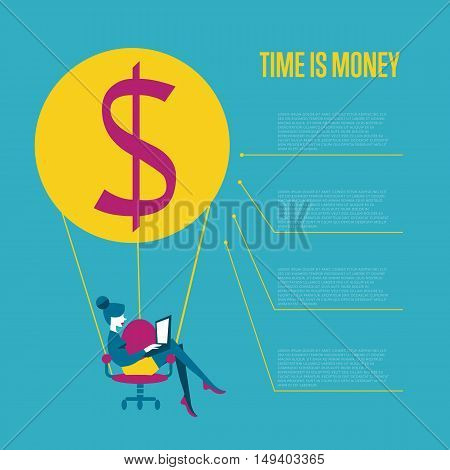 Young business woman with laptop flying on hot air balloon with office chair instead of basket. Time is money infographics template, vector illustration. Time management concept with space for text