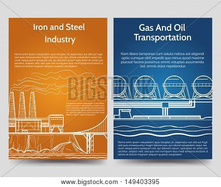 Industrial brochure flyers template with gas oil transportation and steel and iron industry. Vector illustration