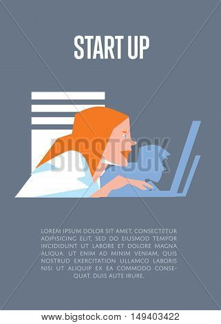 Focused young business people using laptops in office. Business start up banner, vector illustration on gray background. Teamwork concept. Startup realization. Creative team working on new project.