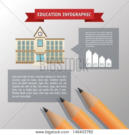 Pencil icon. Education and learning infographic theme. Grey background. Vector illustration