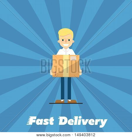 Smiling delivery boy with cardboard box isolated on striped blue background. Fast delivery banner, vector illustration. Professional courier service. Shipping and moving. Postman character