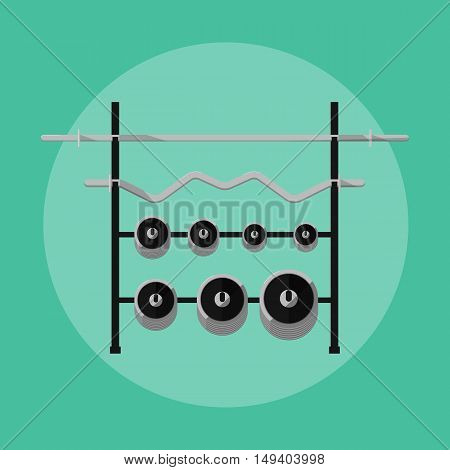 Metal barbells and weights on rack, vector illustration in flat style. Athletic equipment. Tools for sport. Gym stand. Bodybuilding icon.