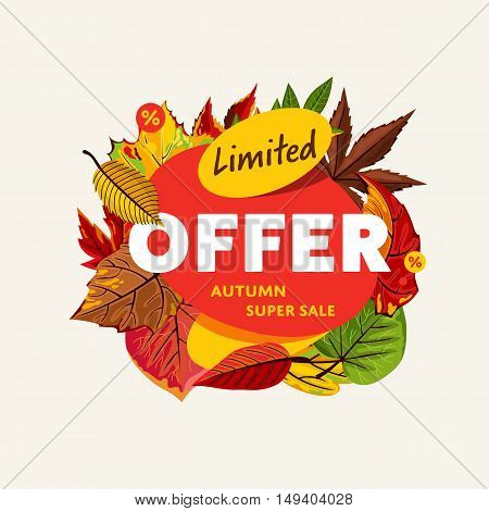 Autumn sale design template, vector illustration. Limited offer, autumn super sale banner with colorful leaves on white background.  Autumn sale sticker. Autumn discount sticker. Sale sign. Autumn sale label. Sale sticker template.