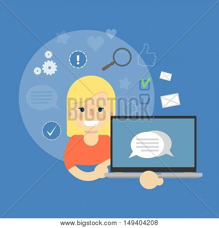 Smiling cartoon girl holding laptop with speech bubbles on screen. Social media banner on blue background with communication icons, vector illustration. Connecting people, social networking.
