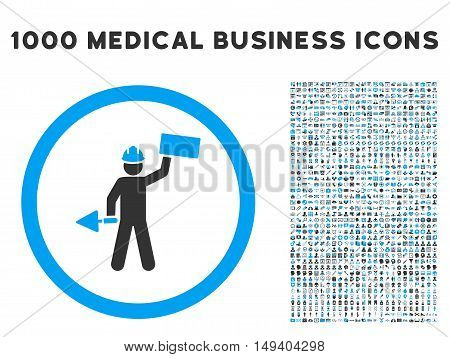 Builder With Shovel icon with 1000 medical business gray and blue vector pictograms. Design style is flat bicolor symbols, white background.