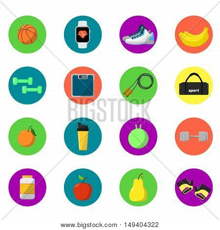 Sports and nutrition vector illustration, round icons set. Protein shaker, jump rope, sneakers, weigher, ball, fruit, sports bottle. Athletic equipment, exercise, diet, fitness supplements.