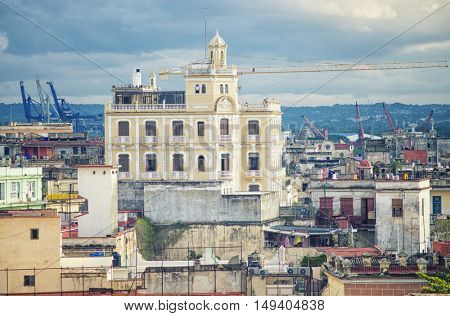 View of Old Havana rooftops and pier overlooking the city