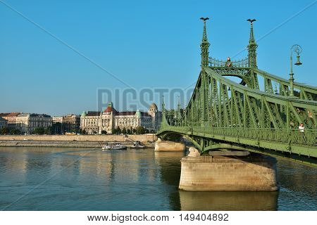 BUDAPEST, HUNGARY - SEPTEMBER 15: The famous Gellert Baths with Liberty Bridge across Danube early in the morning  SEPTEMBER 15, 2016 in Budapest, Hungary