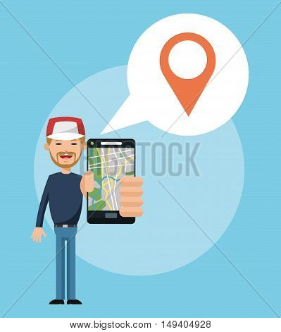Cartoon man and smartphone. Gps navigator location travel and route heme. Colorful design. Vector illustration