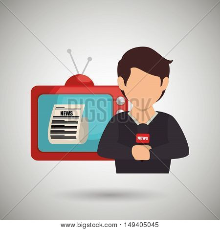 reporter tv news microphone vector illustration eps 10