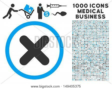 Cancel icon with 1000 medical commerce gray and blue vector pictographs. Collection style is flat bicolor symbols, white background.