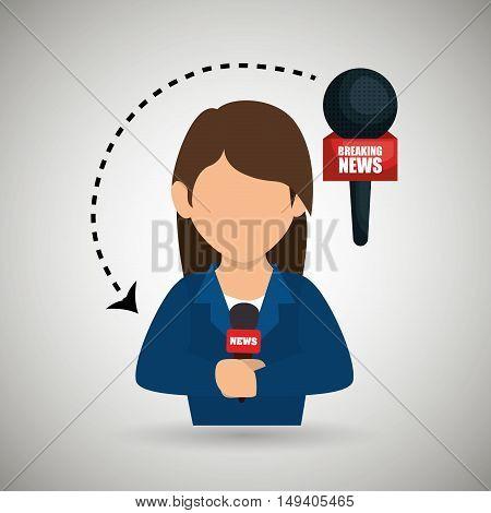 woman journalist news microphone vector illustration eps 10