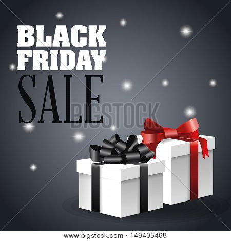 Gift with bowtie icon. Black Friday sale and offer theme. Grey background. Vector illustration