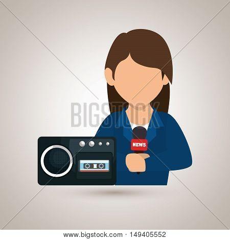 woman voice recorder news vector illustration eps 10