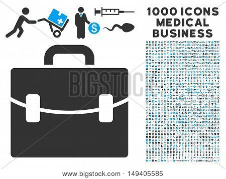 Case icon with 1000 medical business gray and blue vector pictograms. Set style is flat bicolor symbols, white background.