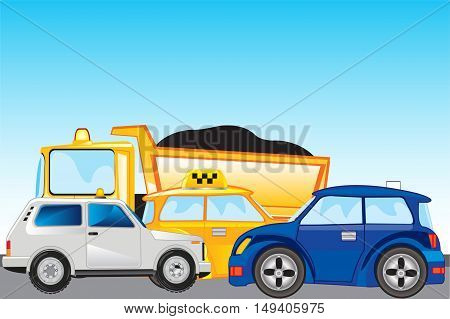 The Road and much cars on her.Vector illustration
