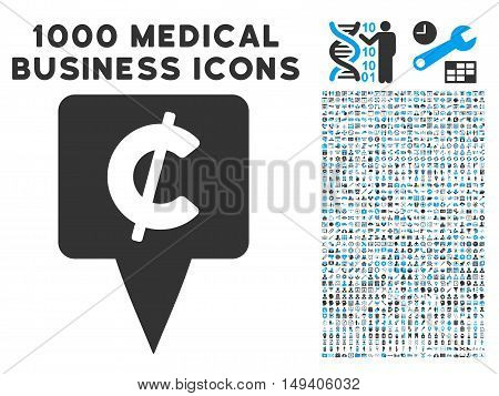Cent Map Pointer icon with 1000 medical commerce gray and blue vector pictographs. Design style is flat bicolor symbols, white background.