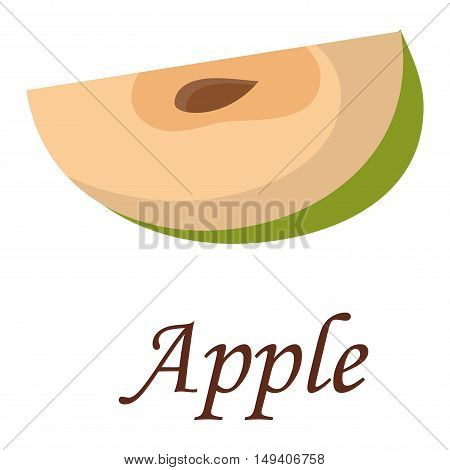 Slice of fresh apple isolated on white background fruit. Apple slice vector citrus food, apple juicy organic sweet vitamin. Tasty healthy cut exotic fruit.