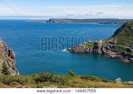 A view of Fort Amherst Cape Spear and the Atlantic Ocean from Signal Hill outside St. John's Newfoundland
