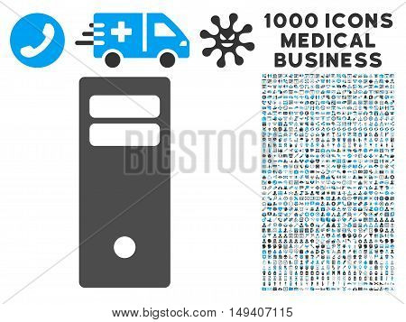Computer Mainframe icon with 1000 medical commercial gray and blue vector pictograms. Clipart style is flat bicolor symbols, white background.