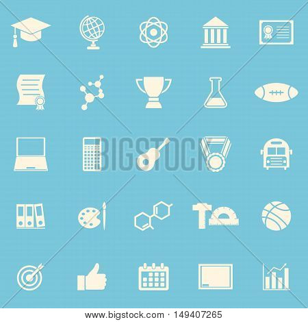 College color icons on blue background, stock vector