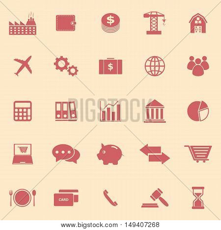 Economy color icons on yellow background, stock vector
