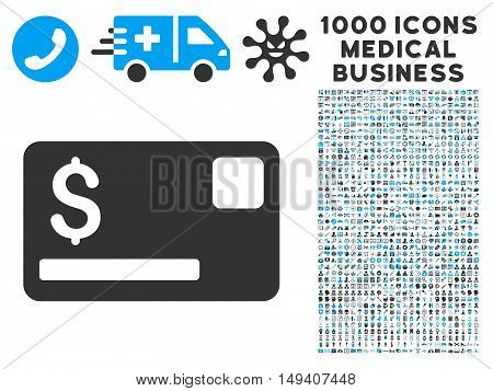 Credit Card icon with 1000 medical business gray and blue vector pictograms. Collection style is flat bicolor symbols, white background.