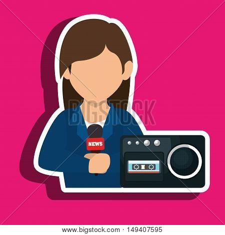 woman voice recorder news vector illustration eps 10