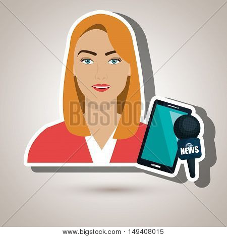 woman news smartphone reportage vector illustration eps 10