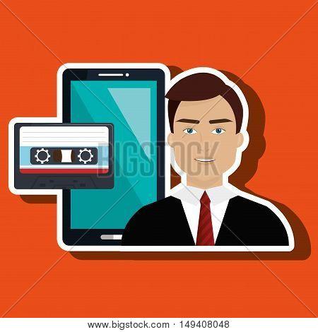 man news cassette radio vector illustration eps 10