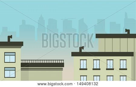Vector flat illustration of city landscape collection