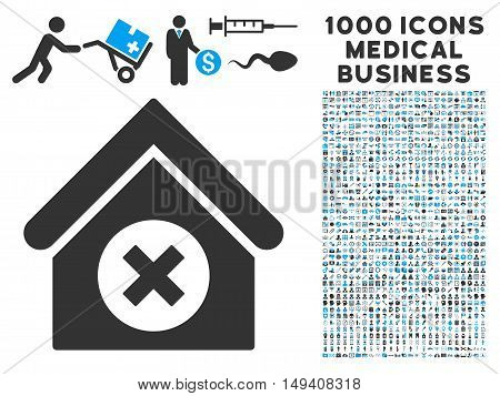 Delete Building icon with 1000 medical commercial gray and blue vector design elements. Collection style is flat bicolor symbols, white background.