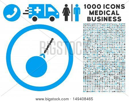 Destruction Hammer icon with 1000 medical commercial gray and blue vector pictograms. Design style is flat bicolor symbols, white background.