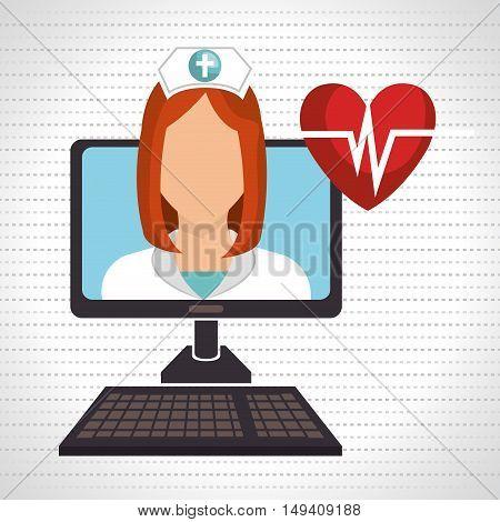 nurse computer service health vector illustration eps 10